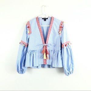 Zara Trafaluc Blue Striped Tassel Front Tie Blouse
